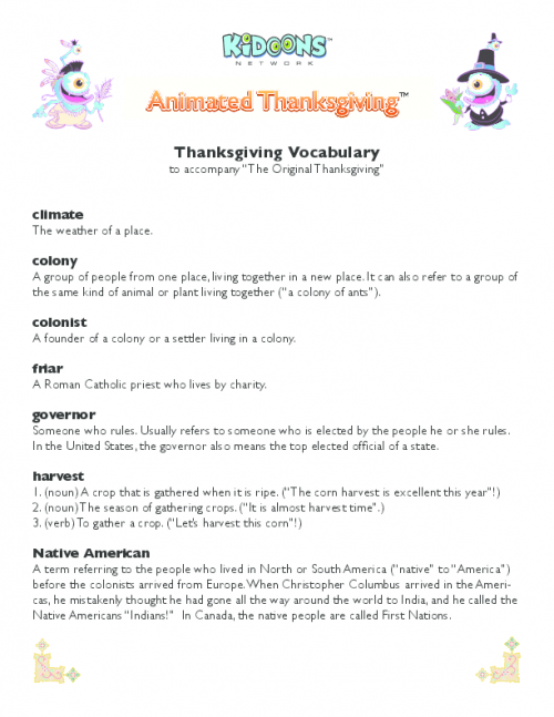 Animated Thanksgiving Vocabulary PDF