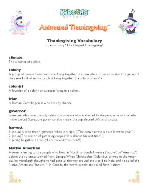 Animated Thanksgiving Vocabulary PDF